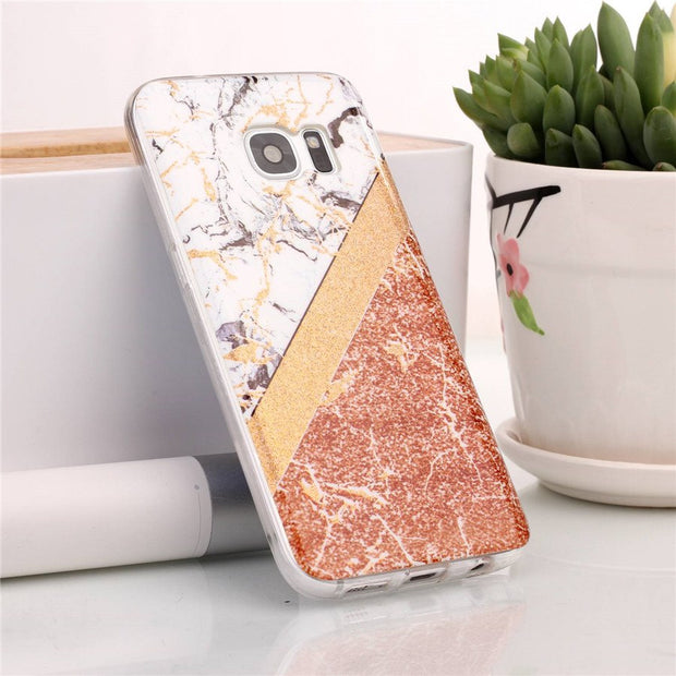FKISSME Glitter Marble Case For Samsung Galaxy S7 Glossy Geometry Stone Pattern Soft TPU Cover For Samsung S7 Edge Phone Cases