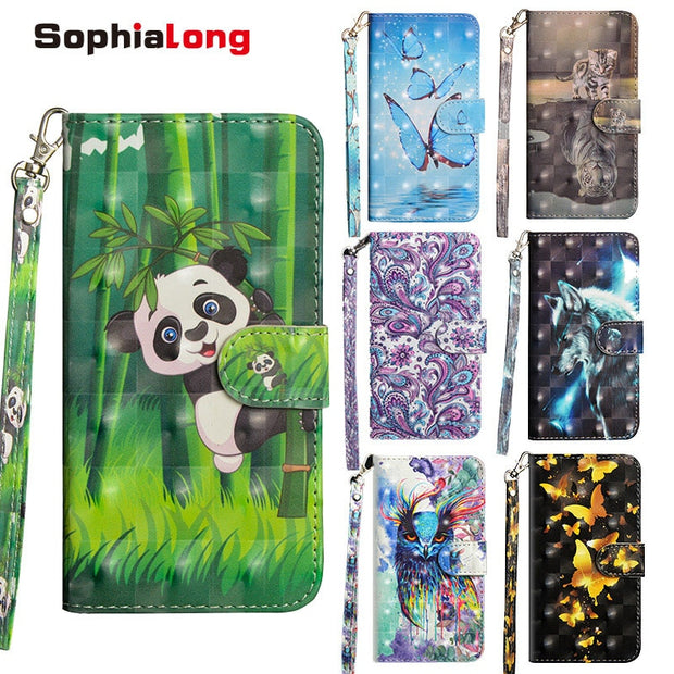 Fashion Case SFor Huawei P20 Pro Lite Case Phone Cases Flip Cover For Fundas Huawei P20 Plus Nova 3E Coque With 3D Pattern