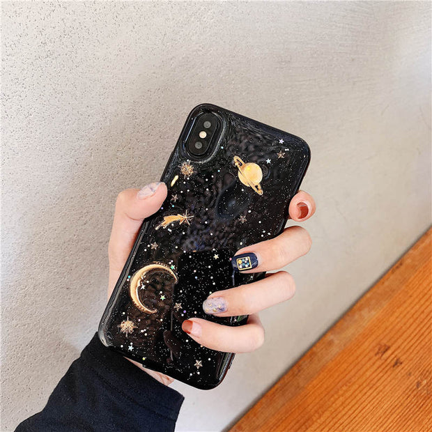 Fashion Glitter Outer Space Saturn Epoxy Soft TPU Case For Apple IPhone X XS XR Soft Back Cover For IPhone 6 6S 7 8 Plus XS Max