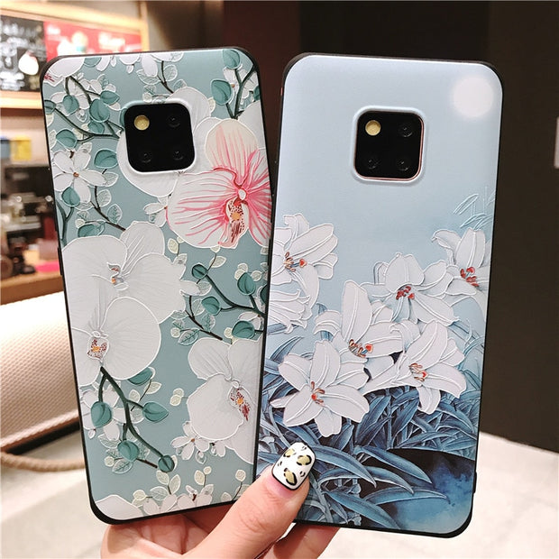 Fashion Retro Flower Case For Samsung S9 S8 Plus Note 8 9 Soft Silicon Protective Bumper Cover For Huawei Mate 20 Pro P20 Lite