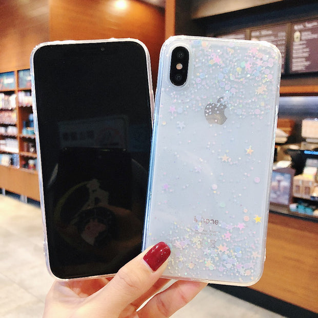Fashion Simple Epoxy Glitter Shiny Case For Apple IPhone XR X 6 6S 7 8 Plus Transparent Soft TPU Rubber Cover For IPhone XS Max