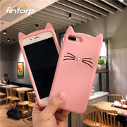Fintorp Case For IPhone 7 6 X Cases 3D Cute Cartoon Cat Ear Silicone Coque Cover For IPhone 6S 5 5S 7 8 Plus XR XS Max Bumper