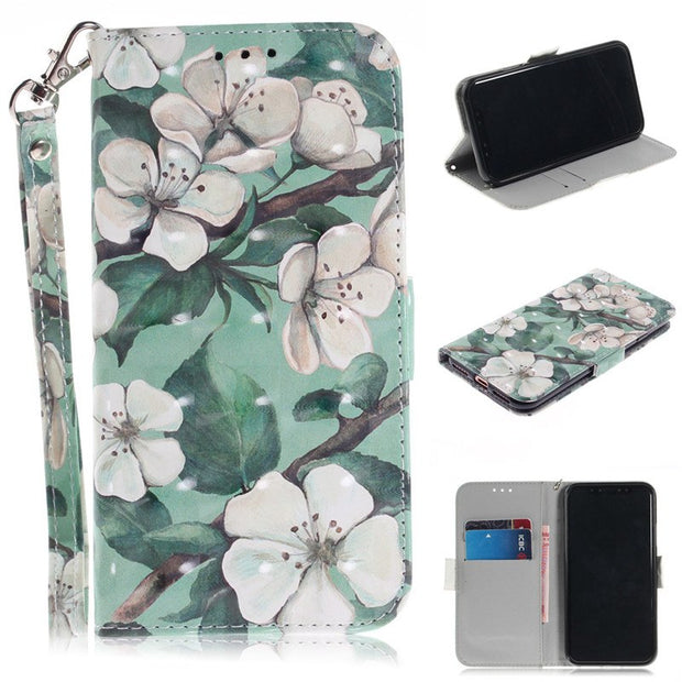 Flip Cover Phone Bags For IPhone X Case 3D Painting PU Leather Soft Silicon Wallet Covers Cases Coque