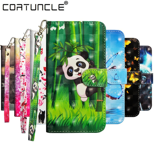 Flip Leather Case On For Coque Huawei Y3 Y5 Y6 2017 Case For Huawei Y3 Y6 Y9 Y5 2018 Cover 3D Painted Wallet Stand Phone Cases