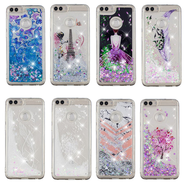 For Huawei Honor 7A Pro Case Bling Quicksand Beauty Pattern Liquid Soft Back Case Cover For Huawei Y6 2018 Case Coque Fundas