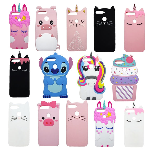 80522695a55 For Huawei Honor 7C Pro Case Nova 2 Lite Cute Unicorn Lucky Cat Cartoon  Soft Silicon