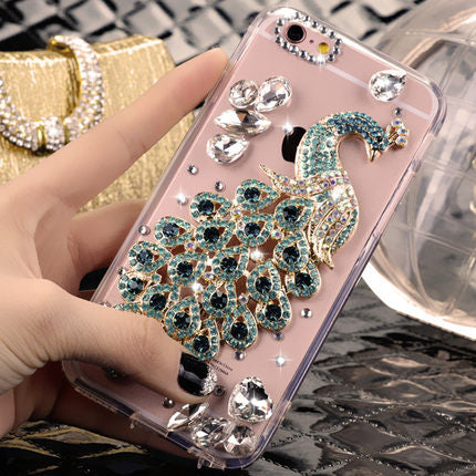 For Huawei Honor 7X Lite 9 10 Nova 2 P8 P9 P10 P20 Mate 9 10 3D Bling Luxury Crystal Rhinestone Peacock Diamond Soft Case Phones