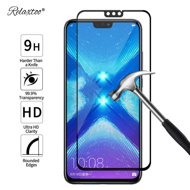 For Huawei Honor 8x Max Case Tempered Glass For Honor 8x Max 8 Lite 8c 8a Full Cover Screen Protector Protective Glass Film 9h