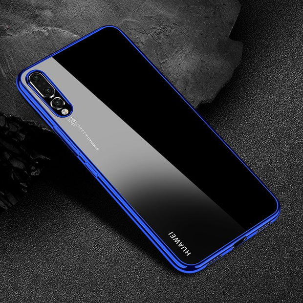 For Huawei P20 Pro Case Luxury Plating TPU Cover Back For Huawei P20 Lite Soft Transparent Silicone Housing Shockproof Coque