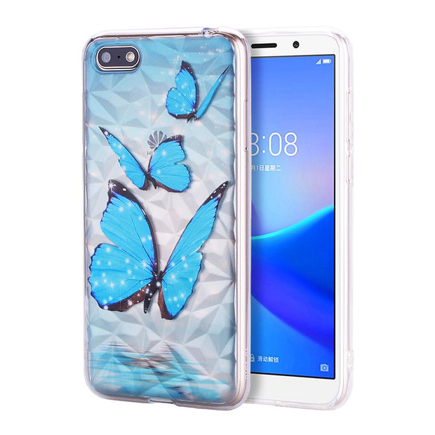 For Huawei Y5 2018/Y5 Prime 2018/Honor 7s Case Ultra Slim Diamond Pattern Soft TPU Phone Case Anti-Scratch Protective Painting