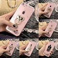 For IPhone 8 8 Plus X XR XS XS Max New Phone Case Rhinestone Cover Hard PC Cases Back Cover Finger Kitty Ring Stand Capa Coque