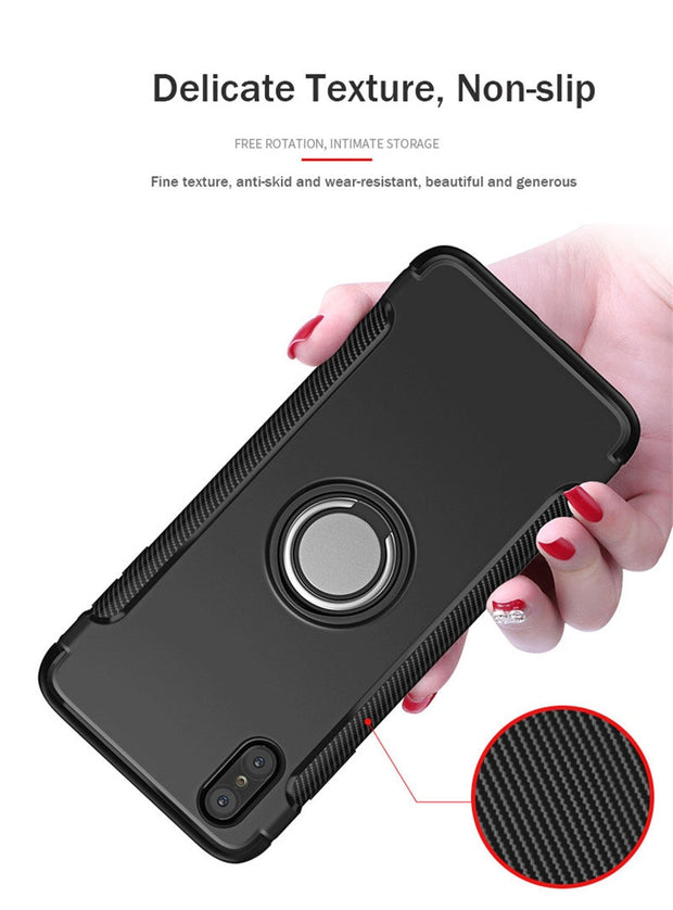 For Iphone X XR XS Max Case Luxury Hybrid Armor TPU Car Magnetic Suction Ring Stand Phone Cove For Iphone 8 7 6 6S Plus 5 5S SE