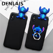 For Samsung Galaxy A3 A5 A7 2017 Case Cute 3D Stitch Cartoon Stand Holder Silicone Phone Case For Samsung A320 A520 A720 Cover