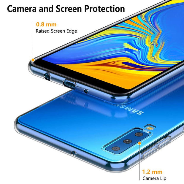 For Samsung Galaxy A7 2018 A750 Crystal Clear Transparent Silicone Shockproof Cases Cover Ultra Thin Slim Glossy Fundas Coque