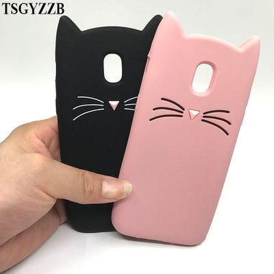 For Samsung Galaxy J3 J5 J7 2017 Case J330 J530 Soft Silicone Cover 3D Beard Cat Capa For Samsung J3 J5 J7 Pro 2017 Phone Cases