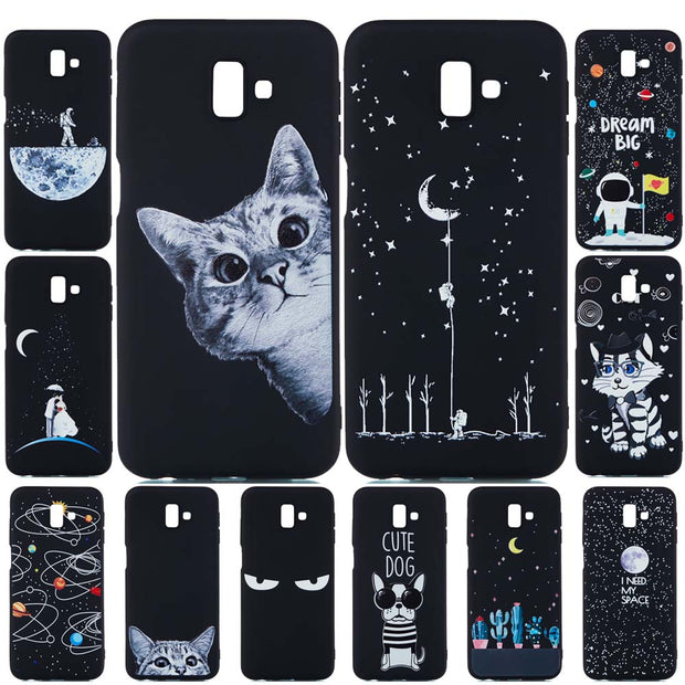For Samsung Galaxy J6 Plus Case J6 2018 Cover Cute Cat Soft Matte TPU Silicone Back Cover For Samsung J4 Plus Case J4 2018 Cover