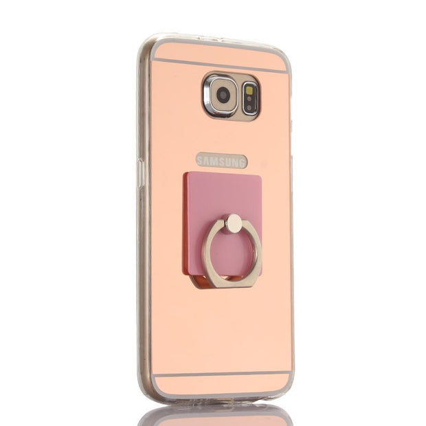 For Samsung Galaxy Note 3 Note 4 Note 5 Case Acrylic Soft TPU Mirror Plating Cover Back Ring Stand Support Phone Case