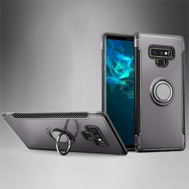 For Samsung Galaxy Note 9 Case Premium Shockproof Hybrid Armor Finger Ring Cover Stand Silicone Drop Protection Mobile Phone Bag