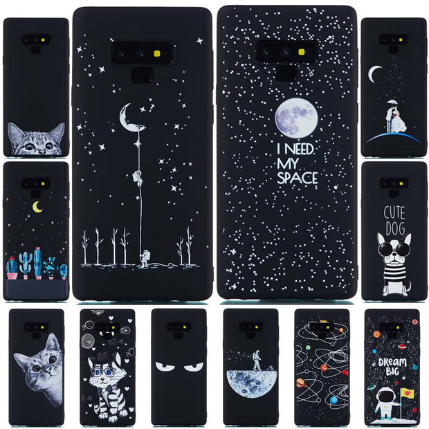 For Samsung Galaxy Note 9 Case Silicone Back Cover Cute Cat Star Black Matte Soft TPU Case For Samsung Galaxy S8 S9 Plus Cover