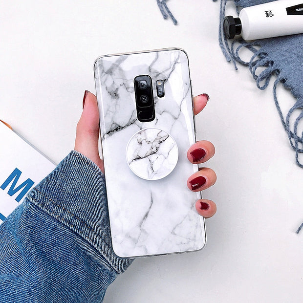 For Samsung Galaxy S10 Plus Case Cover Kickstand Fashion Marble Phone Case For Samsung S10 S10E Etui Glossy Soft Silicone Coque