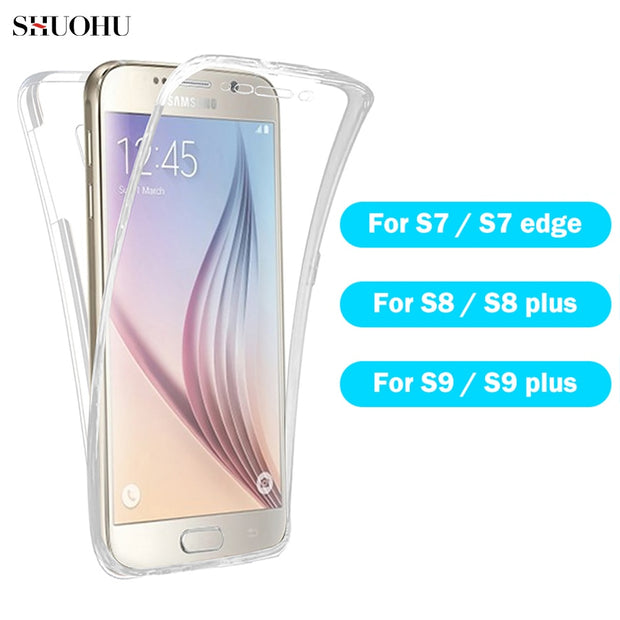 For Samsung Galaxy S7 Edge S8 S9 A8 A6 Plus 2018 Note 9 360 Degree Body Two Sides Full Cover Soft TPU Phone Case Crystal 2PCS