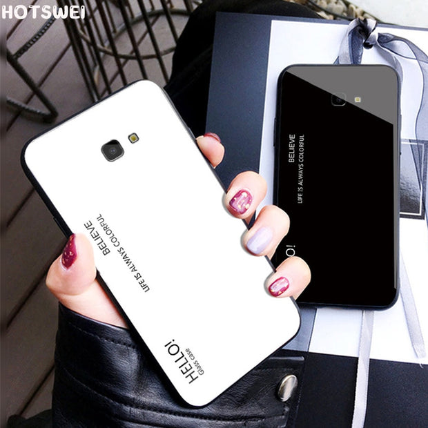 For Samsung J4 Plus Case Luxury Gradient Color Mirror Tempered Glass Case On For SAMSUNG Galaxy J4 J 4 Plus J4+ 2018 J415F Cover