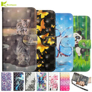 For Sony XA2 Case On For Fundas Sony Xperia XA 2 Ultra Case Cute Cartoon Panda Leather Luxury 3D Painted Flip Wallet Cover Coque