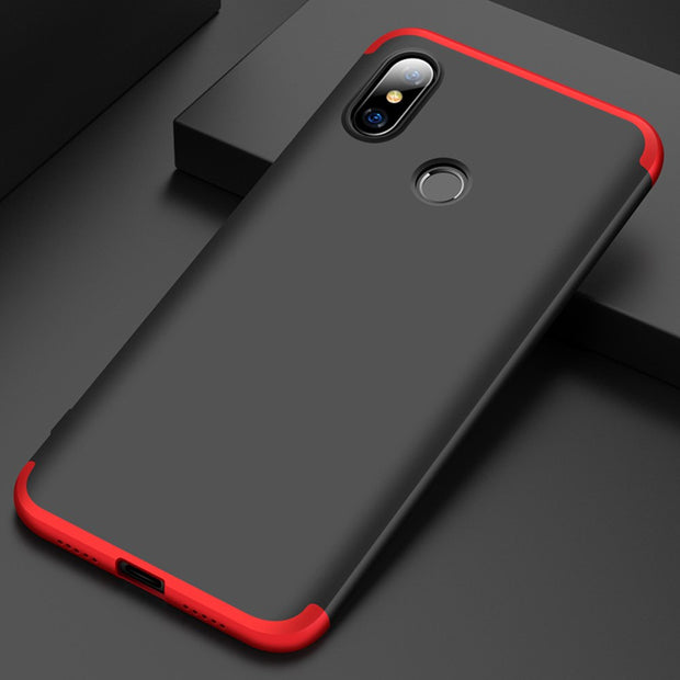 For Xiaomi Mi 8 Mi8 Lite Case 3in1 Full Coverage Protective Armor Case With Tempered Glass Screen Protector Anti Drop Hard Cover