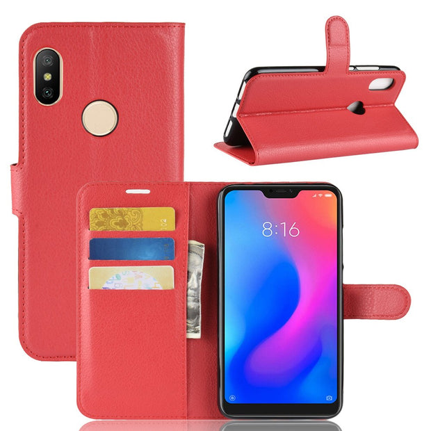 For Xiaomi Redmi Note 6 Pro 6A S2 Y2 Phone Case For Xiaomi Mi 8 Lite SE Youth 8X 6X A2 Max 3 Pocophone F1 Litchi Leather Cover