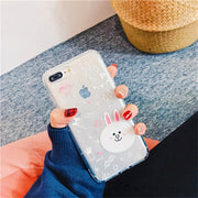 For IPhone 6 6S 7 8 Plus Case Silicone Cute Cartoon Relief Matte TPU Soft Back Cover Relief Case For IPhone X XS MAX XR