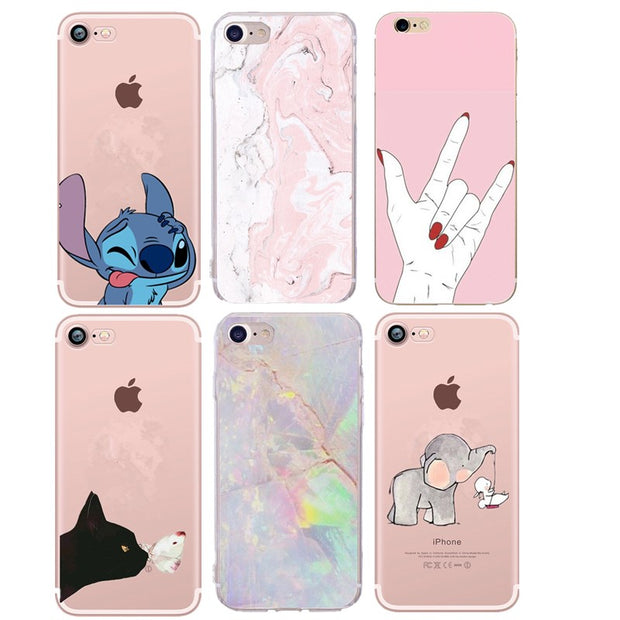For IPhone 8 Case Printed Cartoon Cat Silicone TPU Back Cover For IPhone XR XS MAX X XS 6 6S 7 8 Plus 5S SE 5 Case Soft Coque