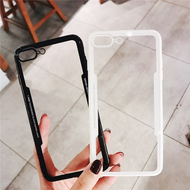 For IPhone XR XS Max X Luxury Transparent Tempered Glass Phone Case For IPhone 6 6s 7 8 Plus 5S SE Soft TPU Silicone Case