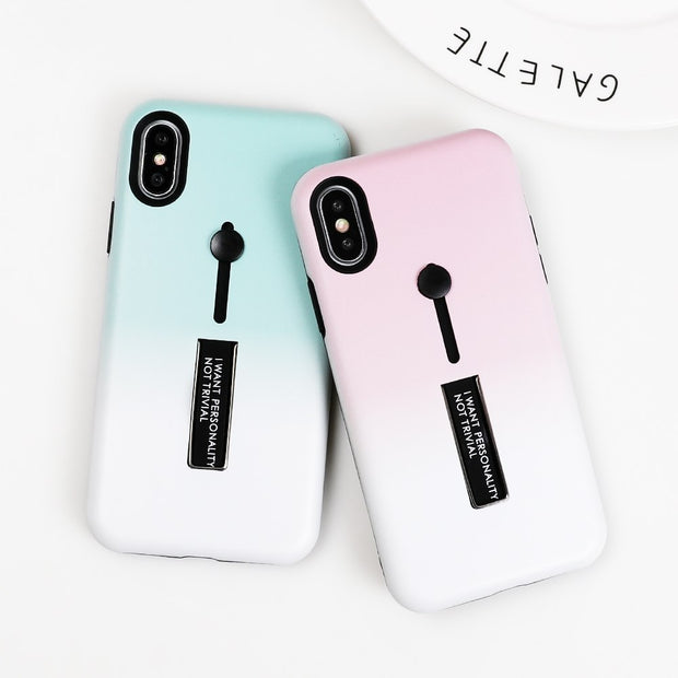 For Iphone 6 6s 7 8 Plus X Luxury Candy Color Purple Soft Silicon Ring Phone Case For Iphone 6 Case Hide Stand Holder Cover