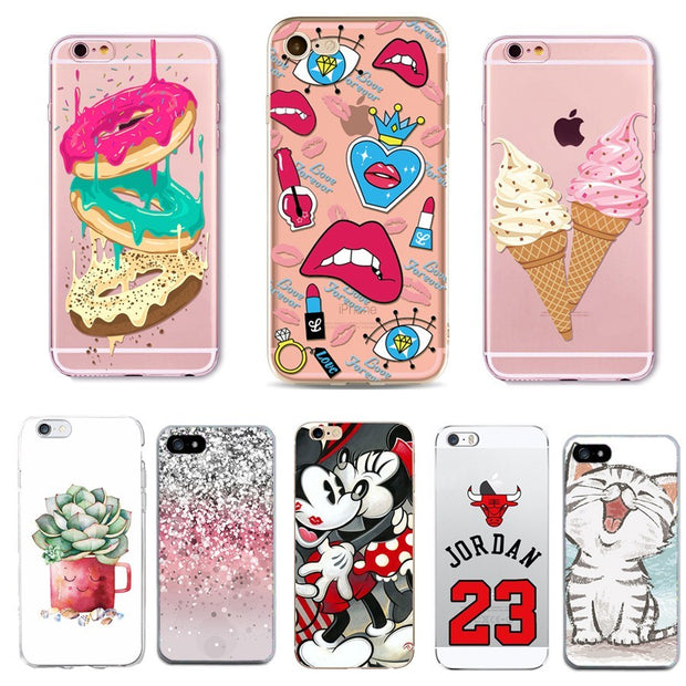 For Iphone 7 7S 6 6S 5 5S SE Case Ice Scream Dessert Pattern Soft Silicone Clear Phone Case For Iphone 6 6S Case