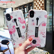 For Iphone XS MAX XR 8 Plus 7 6s X Case Pink Bird Flower Floral Pattern With Invisible Ring Holder Silicon+pc Hard Phone Bag