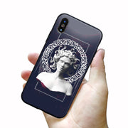 For Iphone X Case Mona Lisa Art David Lines Soft Silicone Phone Case Cover For Apple IPhone 5 5S SE 6 6s 7 8 Plus Xs R Max Cover
