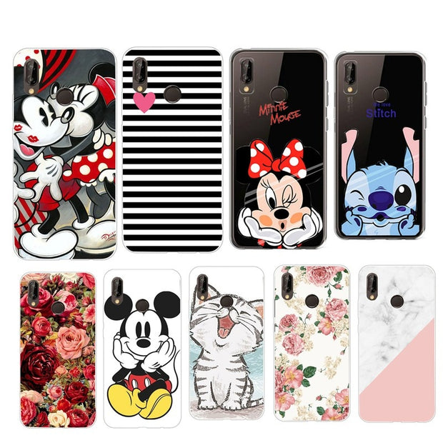 For On Huawei P Smart Case Cover Silicone Soft Case Back Cover For Huawei P Smart Mate 10 P10 P20 Lite Mickey Minnie Cases
