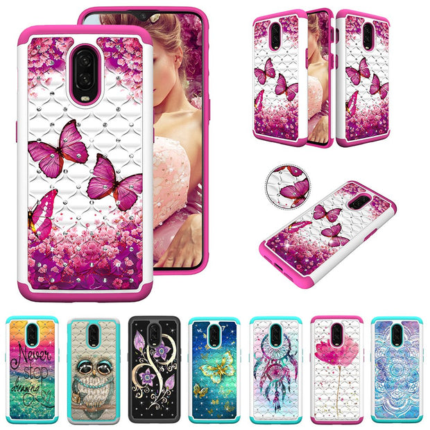 For Oneplus 6T Case Bling Armor 2 In 1 Glitter Diamond Soft Silicone Hybrid PC Phone Case For Oneplus 6T 1+6T Cover Coque