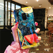 For Samsung Galaxy S9 S8 Plus Note 8 9 Case Luxury Blue Ray 3D Space Moons Airship Stars Glossy Mirror Soft Silicon Back Cove
