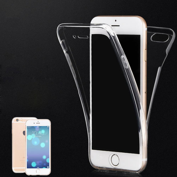 (Front+Back Cover Gel Series), Shockproof TPU 360 Degree Protective Clear Crystal Soft Case Cover For Apple IPhone 7 7 Plus 6 6s