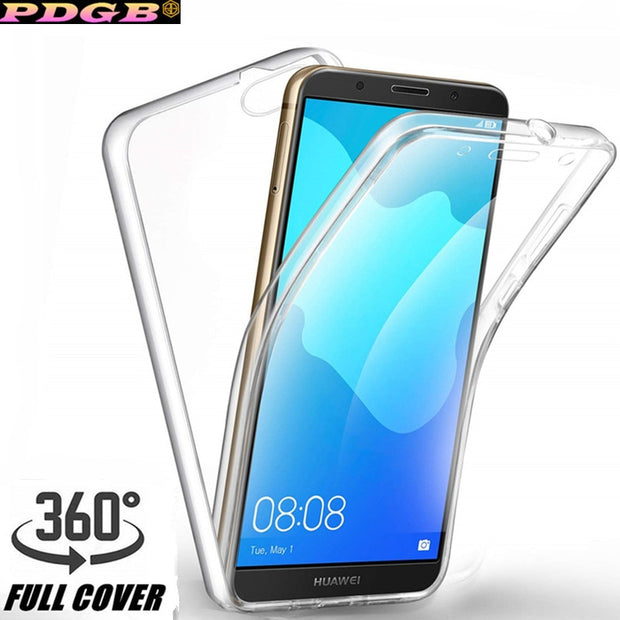 Full Body Case For Huawei P20 Lite Nova 3E 3i 3 Mate 10 20 Pro Honor 8X P  Smart Y5 Y6 Y7 Y9 2018 Transparent Touch Screen Cover