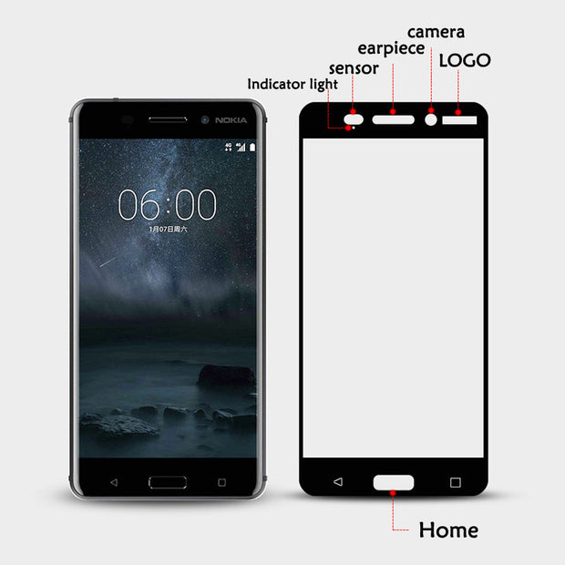 Full Cover 2.5D Tempered Glass For Nokia 6 6.1 5 8 3 2 7 Plus X6 1 3 2018 Screen Protector Film For Nokia 7 Plus Toughened Glass