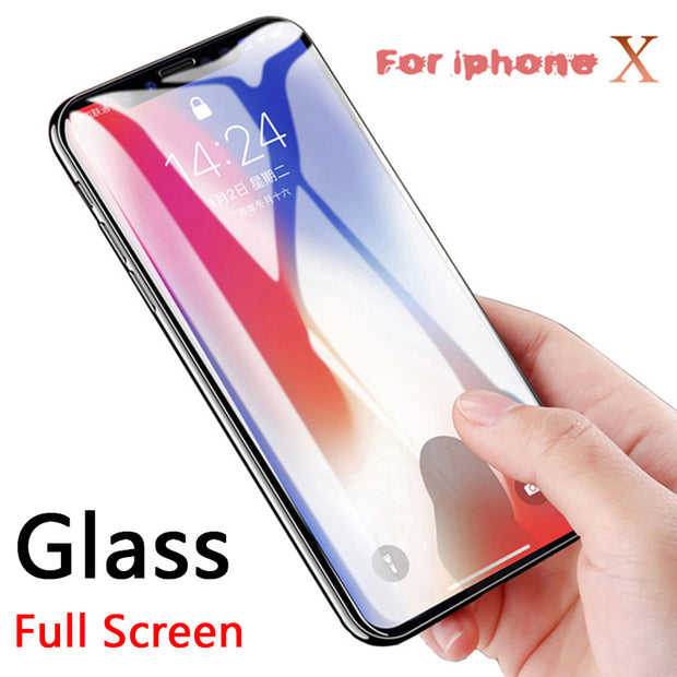 Full Cover Tempered Glass For IPhone X Screen Protector Case For IPhone X 8 7 6 6S Plus 10 Protective Premium Glass Film 9H 2.5D
