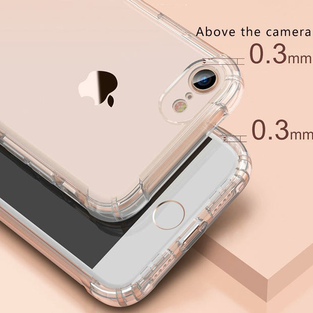 Full Protection Anti-knock Soft TPU Silicone Case For IPhone X7 8 6 6S Plus Transparent Back Cover For IPhone 6 Plus Capa