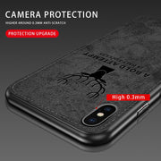 Full Protective Luxury Shell For IPhone X Case Silicone Edge Fabric Soft Back Cover Case For IPhone 7 8 6 6s Plus Deer Coque