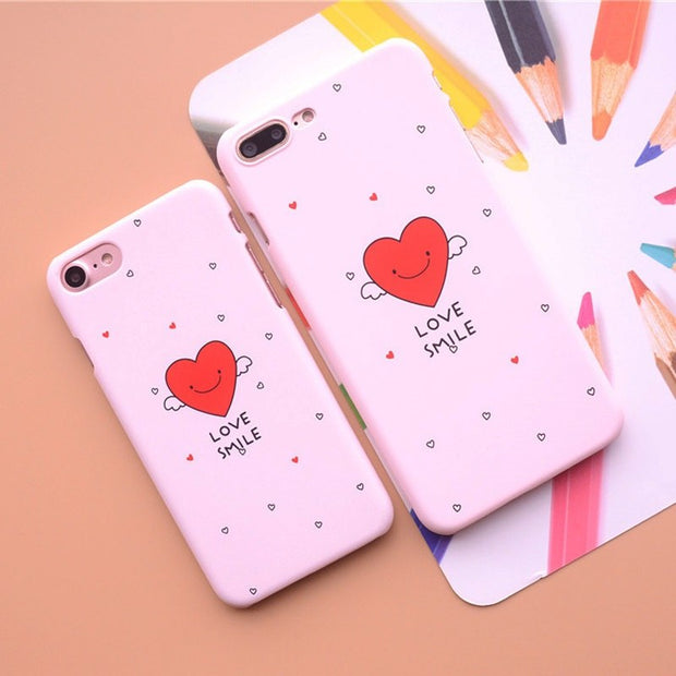 Fundas Coque Case For Iphone 5s 5 SE 6 6S 6Plus 7 8 Plus Case Smooth Feel Hard PC Cute Love Pink Stars Pattern Phone Cases Cover