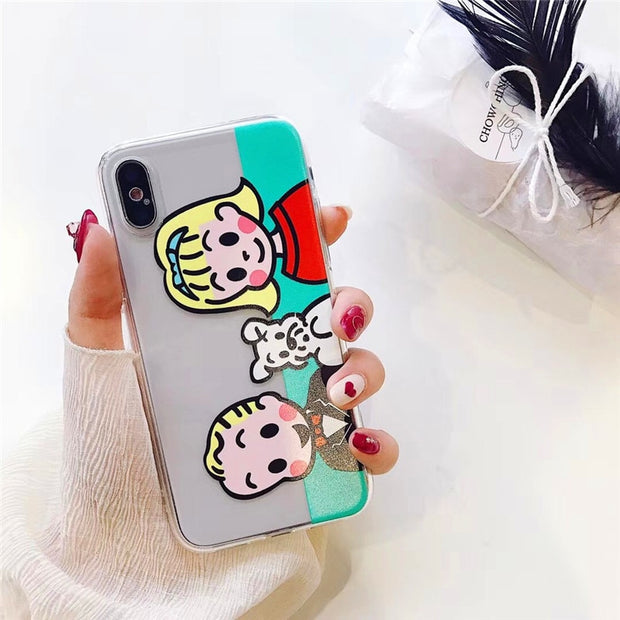 Funny Cartoon Phone Case For Iphone 6S Case For Iphone 6 7 8 Plus X Cover Fashion Ultra Slim Soft TPU Clear Cases Cute Capa