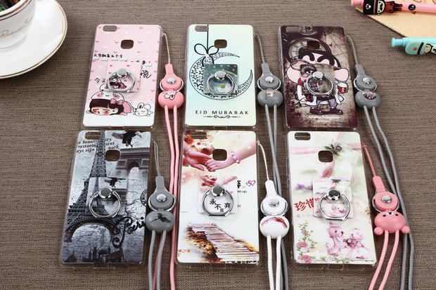"Funny Cute Cartoon Soft Silicone TPU Cover Case For Huawei Ascend P9 Lite/G9 Lite /G9 5.2"" With Finger Ring Holder + Rope MC01"