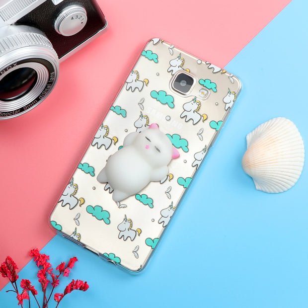 Funny Cute Cat Squishy Case For Samsung Galaxy J3 J5 J7 A3 A5 A7 2016 2017 S6 S7 Edge S8 Plus Note 8 Soft TPU Cartoon Back Cover