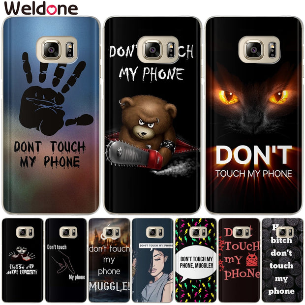 Funny Don't Touch My Phone Case For Samsung A8 Plus 2018 A3 A5 A7 2015 2016 2017 Silicone Cartoon Phone Etui Cases Covers Coque